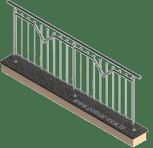 Triangle inox ograda sa okomitim ispunama i kuglicama ili kalotama