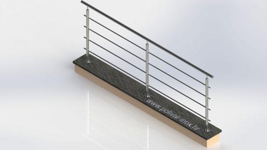 Classic inox ograda sa vodoravnim ispunama koje prolaze kroz stupove
