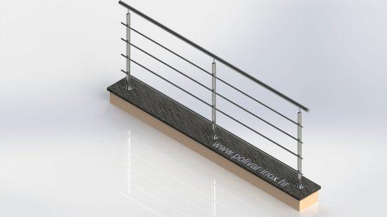 Classic extra inox ograda sa vodoravnim ispunama vezanih za osnovni stup putem štifta