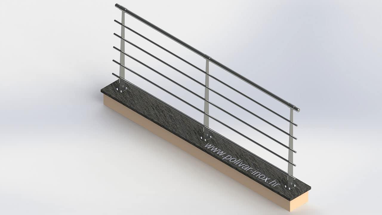 Classic inox flat inox ograda sa vodoravnim ispunama i stupovima od flaha