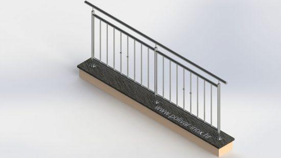 Classic vertical 1 inox ograda sa standardnim stupovima fi 40