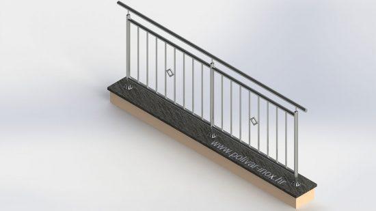 Classic vertical 2 inox ograda sa standardnim stupovima i kvadratnim ukrasima