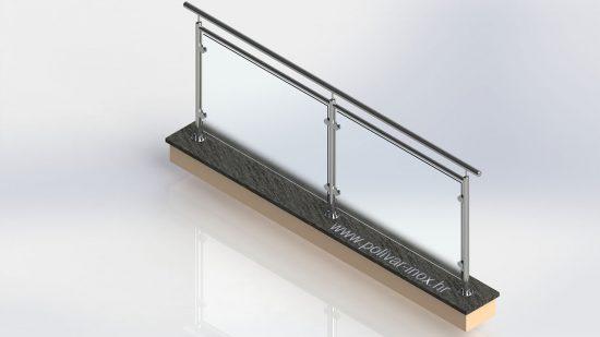 Glass horizontal inox ograda koja između stakla i rukohvata ima i ispunu od cijevi fi 30mm