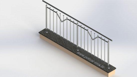 Triangle ograda sa okomitim ispunama i kuglicama ili kalotama